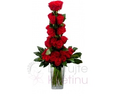 Cascading bouquet of red roses