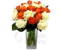 Bouquet of mixed orange and white roses