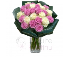 Bouquet of mixed pink and white roses + greenery