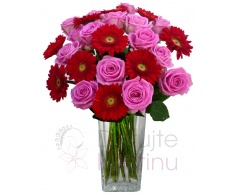 Mixed bouquet pink of roses and mini gerberas