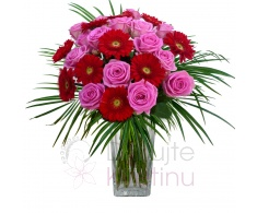 Mixed bouquet of pink roses, mini gerberas and greenery
