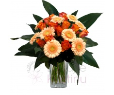 Mixed bouquet of roses, gerberas and greenery
