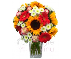 Bouquet of sunflowers, roses, gerberas, santini