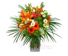 Bouquet of lilies, eustoma, solidago, gerbera, santini, bovardia + greenery