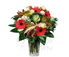 Bouquet of sunflowers, roses, gerberas, santini, greenery